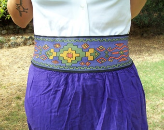 WITCH DOCTOR- Bright Southwestern High Waist Elastic Bold Royal Purple 1970s 1980s Tribal Skirt Small