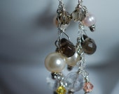 Swarovski crystals, Czech glass, Smoky Quartz briolettes & fresh water pearls. Sterling silver, wire wrapped, long drop cluster earrings.