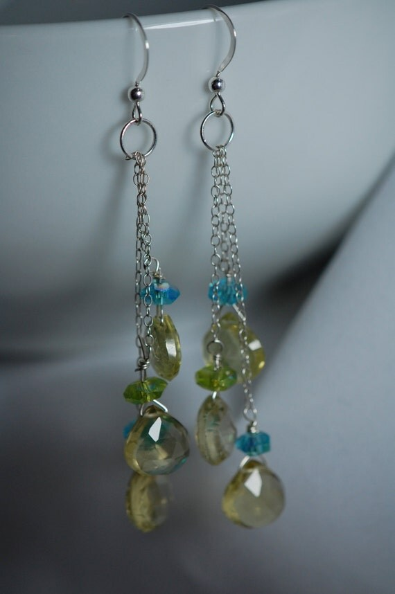 Lemon Quartz briolette & Czech glass earrings. Sterling silver, handmade, wire wrapped, gemstone briolette, blue, green, long drop, dangle.