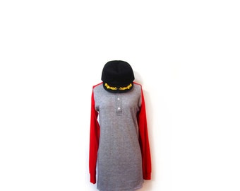 Vintage 70s Unisex Rustic Red & Gray Thermal Baseball Jersey Sweater men m l women s m l indie hipster preppy camping colorblock vestiesteam
