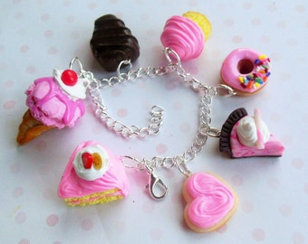strawberry/pink polymer clay sweets charm bracelet