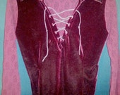 90's Goth Red Velvet Lace Up Shirt