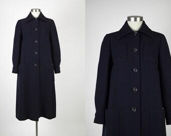 NORELL vintage 1970s Norman Norell coat * dark blue wool gabardine * 1960s designer couture CT111