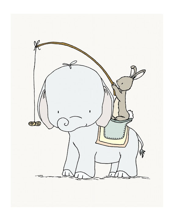 Elephant And Bunny Nursery Art Peanut Ride Elephant And