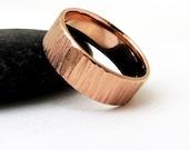 Mens Wedding Band Rose Gold Wedding Ring Bark Wedding Band Rustic Wedding Bands Unique Wedding Rings 14k Rose Gold Ring Rough Textured Ring