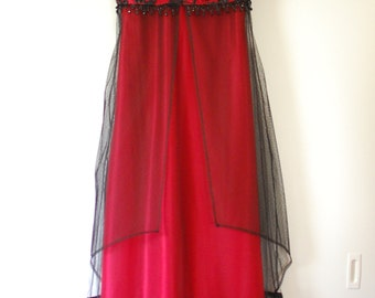 Black Red Beaded Silk Edwardian Titanic Gown - Rose Jump Dress
