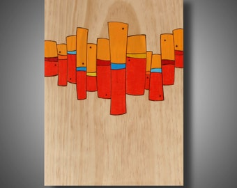 """Abstract Modern Art on Pine - Pyrography - Prismacolor Pencil - Original Design - Modern Home Decor - Orange Poppy Red """"Riot Act"""" 11.25 x 15"""