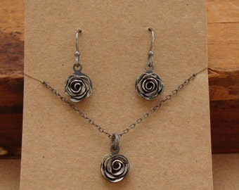 Tiny Handcrafted Sterling Silver Rose Necklace and Earrings Set--Luckstruck Signature--Perfect for Mother's Day!