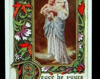 Mary and Baby Jesus Vintage Postcard, Peace Be Yours; Art Nouveau Style, Wonderful