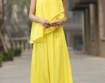 Yellow maxi chiffon dress prom dress wedding dress (934)