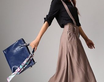 Linen skirt women long skirt maxi skirt (1033)