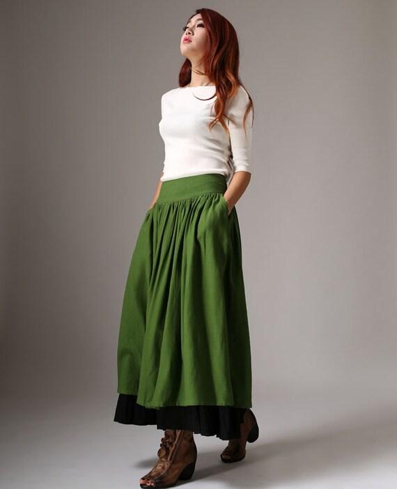 jupe longue en lin jupe longue jupe verte automne akirt. Black Bedroom Furniture Sets. Home Design Ideas