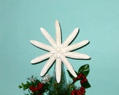 "Starfish Tree Topper - 7"" - 8"" - available Natural, with Crystals or Clear Glitter - Beach Christmas/Beach Ornaments/Beach Tree Topper"