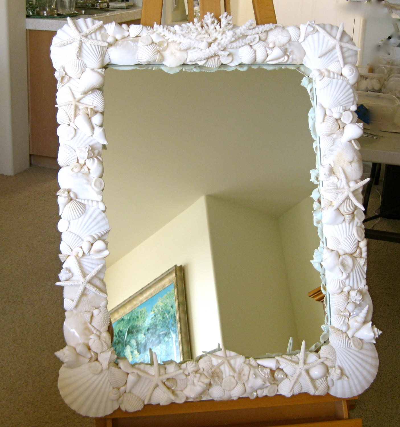 Beach Decor Large Seashell Mirror With Coral And Starfish
