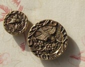 2 Victorian Tinted Brass Picture Buttons Birds & Flowers Art Nouveau Swallows