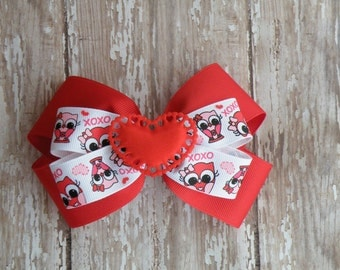 "5"" Red and White OWL Valentine hair bow, Valentine's Day!! Ready to Ship"