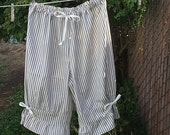 Womens Bloomers Navy Ivory Mattress Ticking Stripe XS - XLg Custom Made