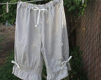 Womens Bloomers Navy or Red Mattress Ticking Stripe XS - XLg Custom Made
