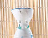 Origami earrings crane in turquoise and white recycled paper on thin silver chain eco-friendly jewelry -Made to order