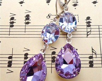 Provence Earrings Swarovski Alexandrite Tanzanite Bridal Bridesmaid Ombre Purple Silver Settings