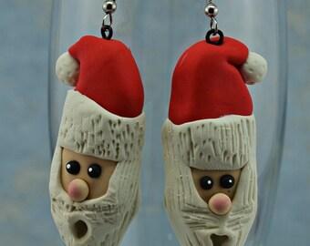 Christmas Earrings, Santa Earrings, CIJ, Polymer Clay Earrings, Hand Sculpted Earrings, Clay Earrings, Red and White, Santa Claus Earrings