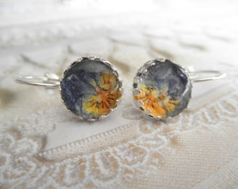 Ombre Purple, Orange & Yellow Pansies Beneath Glass-Crown Bezel Leverback Victorian Pressed Flower Earrings-Symbolizes Loyalty