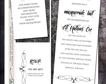 DIY- Masquerade,  printable Wedding Invitation Suite with rsvp, info card