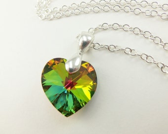 Crystal Rainbow Necklace Rainbow Heart Necklace Crystal Pendant Sterling Silver Crystal Necklace