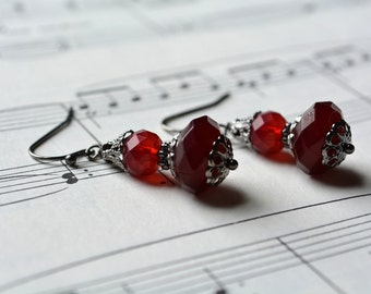 Dark Red Earrings Beaded Jewelry Gothic Milky Gunmetal Dark Silver Victorian Style