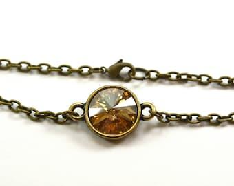 Warm Brown Bracelet Whiskey Brown Rich Antiqued Brass Crystal Chain Bracelet