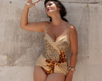 Pin Up Flattering Swimsuit , Plus Size One Piece  Leopard Print Tankini , Made to Measurements , Retro,