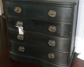 Chest Vintage Bow Front Mahogany Gentleman's Chest PAINT to ORDER Poppy Cottage Painted Furniture