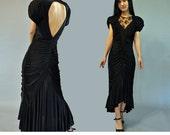 Vintage 80s Dress Black Evening Dress Backless Maxi Dress Ruched Party Dress Lace Neckline High Low Hem Formal Black Cocktail Dress XS / S