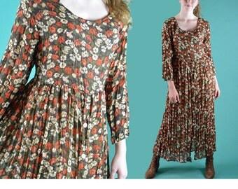 Vintage 80s Maxi Dress BOHEMIAN MAXI Dress Sheer Floral Long Maxi Dress Ethnic Gauze Hippie Dress Empire Waist Babydoll Maxi Dress S / M / L
