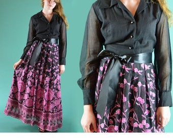 Vintage 60s Dress / Mod Floral Hostess Maxi Dress / Sheer Cotton Voile Party Dress / Full Skirt Long Sleeves Rhinestone Buttons M / L