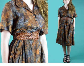 Vintage 50s Day Dress Retro Floral Pleated Skirt Shirtwaist Dress 1950s Brown Cotton Full Skirt Button Front Day Dress Plus Size Dress L
