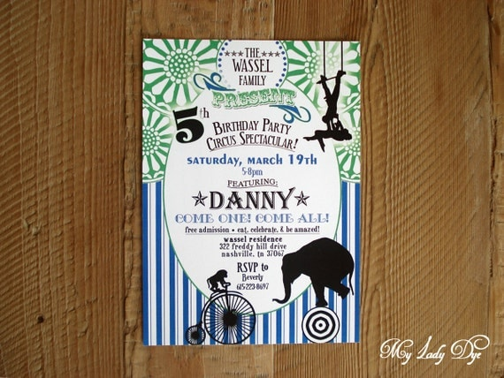 25 Circus Birthday Invitations Party Invitations - Elephant Monkey Trapez Magic Hat Circus Tent - By My Lady Dye