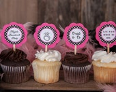 Bridal Shower Cupcake Toppers - Ring Cupcake Toppers - Final Fling Party - Bachelorette Party in Hot Pink and Black Polka Dots