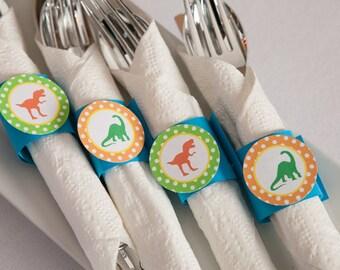 Dinosaur Napkin Rings - Silverware Wraps - Dinosaur Theme - Dinosaur Baby Shower Napkin Rings (12)