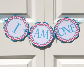 "Chevron ""I AM ONE"" Banner - Chevron Birthday Party Decorations - Aqua Blue & Red Chevron Birthday Banner - First Birthday Sign BB2"