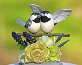 Petite Chickadee Lime and Lavender Wedding Cake Topper