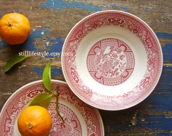 Vintage Willow Ware, Red Pink Transferware, Chinese Diner, Royal China, Small Side Plate, Dessert Plates, Vintage Ironstone, Chinoiserie