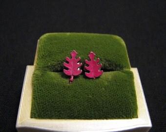 Vintage Small Maroon Purple Leaf Pierced Earrings