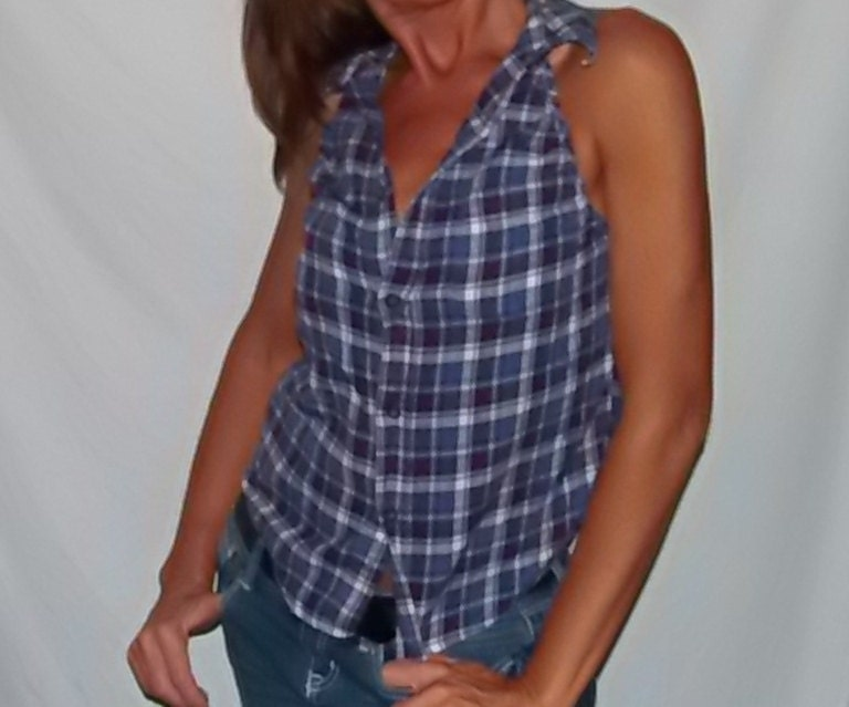 Blue And White Plaid Flannel Button Up Shirt Upcycled In To A
