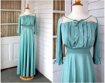 Peasant Style Maxi Dress - Robins Egg Blue with Lace Details - Vintage 1970s 70s