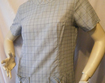 Missy vintage 1960s Grey plaid Mod Scooter dress with Silver buttons Large