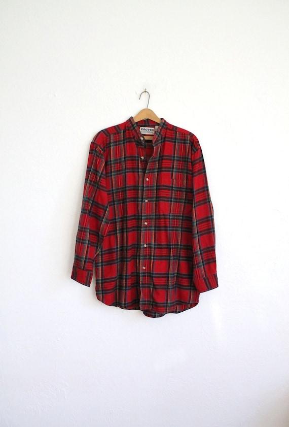Vintage 80s Men's Red Collarless Flannel Shirt // Long Sleeve Winter Shirt