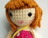 Handmade doll with mustard color loopy hair