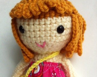 Handmade doll, crochet doll, mustard blonde hair, soft toy, adorable gift, ready to ship