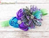 Peacock Headband, Peacock Blue and Purple Satin & Chiffon Flowers w/ Crystals Lime Green Headband or Barrette, Baby Child Girls Headband